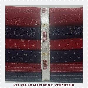 Kit Plush Sport Marinho e Vermelho 6tecidos 30cmx80cm