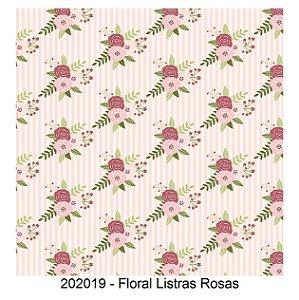 Tricoline Floral Listra Rosas 50cm x 1.50m largura