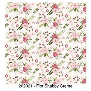 Tricoline Flor Shabby Creme 50cm x 1.50m largura