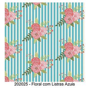 Tricoline Floral com Listra Azuis 50cm x 1.50m largura