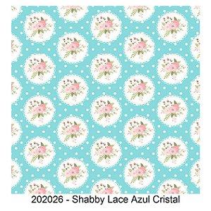 Tricoline Shabby Lace Azul Cristal 50cm x 1.50m largura