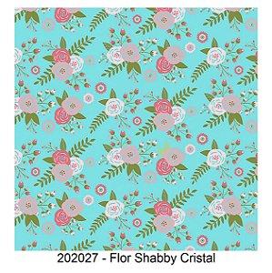 Tricoline Flor Shabby Cristal 50cm x 1.50m largura