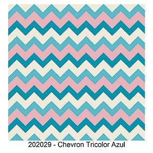 Tricoline Chevron Tricolor Azul 50cm x 1.50m largura