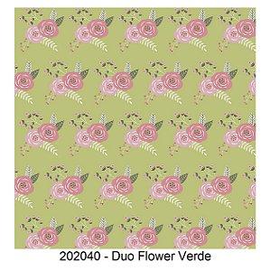 Tricoline Duo Flower Verde 50cm x 1.50m largura