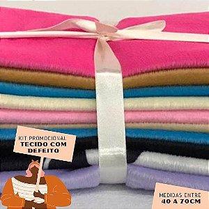 Kit04 Tecidos Velboa com Defeito 40 a 70cm