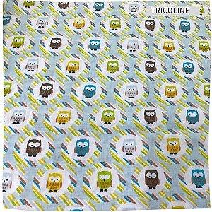 Tricoline Corujas Coloridas  50cm x 1.50m largura
