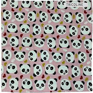 Tricoline Panda Fundo Rosa 50cmX1,50largura
