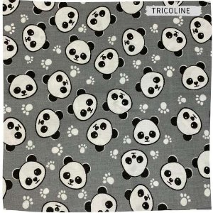 Tricoline Panda Fundo Cinza 50cmX1,50largura