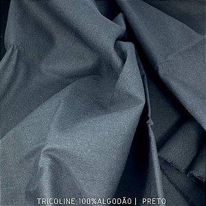 Tricoline Liso 100% Algodão Preto 50cm x 1.50m