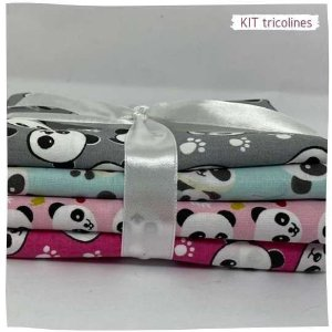 Kit Tricoline Panda  4tecidos 50x75cm