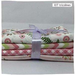 Kit Tricoline Flores Rosa 4tecidos 50x75cm