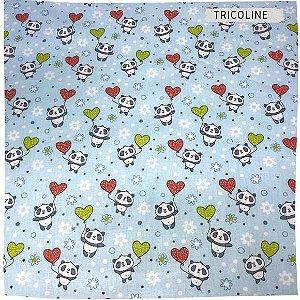 Tricoline Panda Balões de Coração 50cm x 1.50m largura