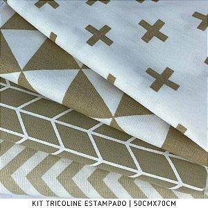 Kit Tricoline Geométrico Tons de Bege 4tecidos 50cmx70cm