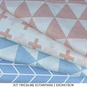 Kit Tricoline Geométrico Rosa e Azul 4tecidos 50cmx70cm