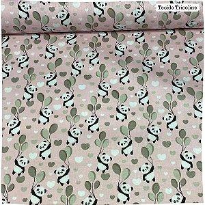 Tricoline Panda Fundo Rosa 50cm x 1.50m largura
