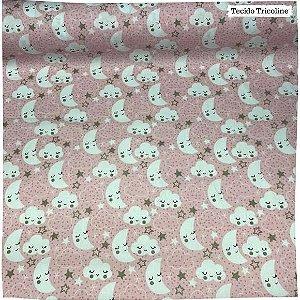Tricoline Mundo Dos Sonhos Fundo Rosa 50cm x 1.50m largura