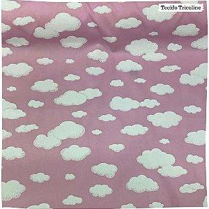 Tricoline Nuvens Fundo Rosa 50cm x 1.50m largura
