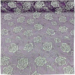 Organza Flores Roxo 50cm x 1,50cm