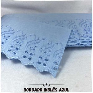 Bordado Inglês Azul 10,0cm Largura