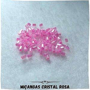 Miçanga Com Furo Cristal Rosa 0,2mm