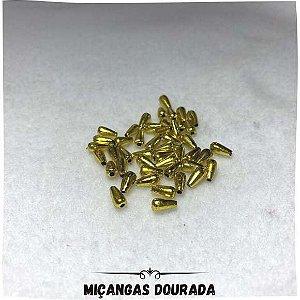 Miçanga Com Furo Dourada 0,4mm x 0,8mm