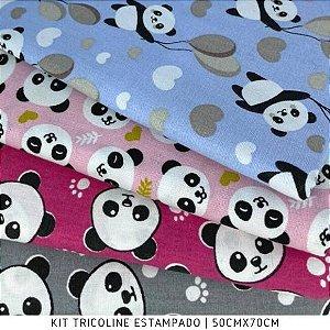 Kit Tricoline Pandas 4tecidos 50cmx70cm