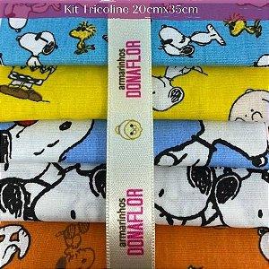 Kit Tricoline Snoopy 5Tecidos 20cm x 35cm