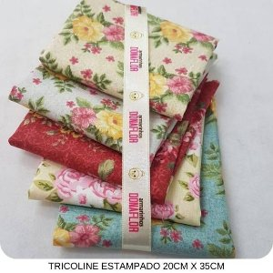 Kit Tricoline Flores 5Tecidos 20cm x 35cm