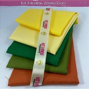 Kit Tricoline 5Tecisos Liso Tons Amar. e Verde 20cm x 35cm cada