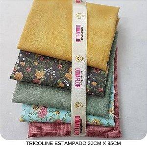 Kit Tricoline Floral 5Tecidos 20cm x 35cm