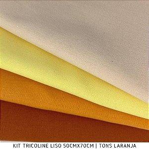 N12Kit Tricoline Liso Tons Laranja 50cm x 70cm