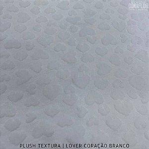 Plush Textura Lover Coração Branco tecido Desenhos em Relevo 50cmx1,70m