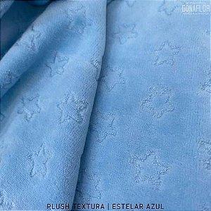 Plush Textura Estrela Azul tecido Desenhos em Relevo 50cmx1,70m