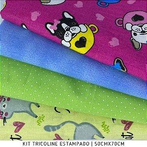 Kit Tricoline 4Tecidos Cachorros e Gatinhas - Medida 50cmx70cm
