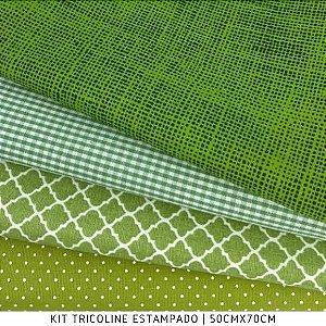 Kit Tricoline 4Tecidos Composse Verde 50cmx70cm cada