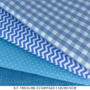 Kit Tricoline 4Tecidos Composê Tons Azul Claro  50cmx70cm