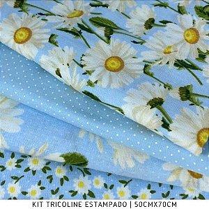 Kit Tricoline Margarida Fundo Azul 4tecidos 50cmx70cm