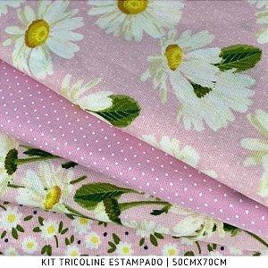 Kit Tricoline Margarida Fundo Rosa 4tecidos 50cmx70cm