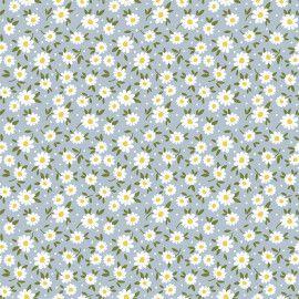 Tricoline Tiny Daisy Azul 50cm x 1.50m largura