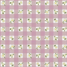 Tricoline Mini Daisy Xadrez Rose 50cm x 1.50m largura
