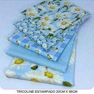 Kit Tricoline 5Tecidos Margaridas fundo Azul 20cm x 35cm cada