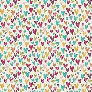 Tricoline Coração Colorido 50cm x 1.50m largura