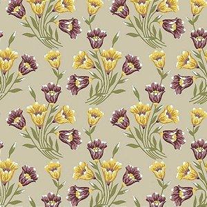 Tricoline Bouquets Lírios Cremes 50cm x 1.50m largura