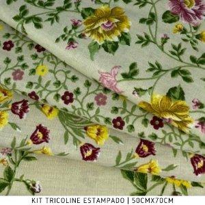Kit Tricoline 4Tecidos Floral Creme 50cmx70cm cada