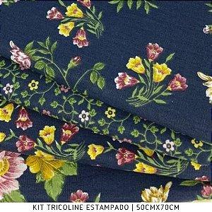 Kit Tricoline 4Tecidos Floral Marinho 50cmx75cm cada