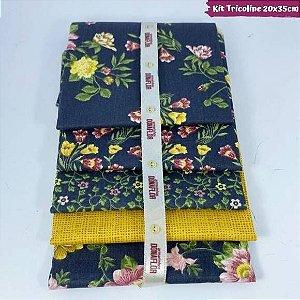 Kit Tricoline Flores Fundo Marinho 5Tecidos 20cm x 35cm