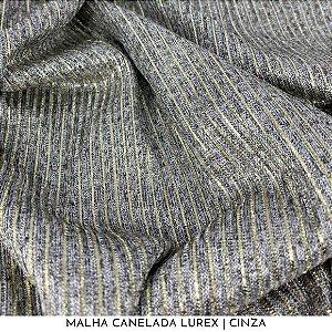 Malha Canelada Lurex Cinza com os fios Dourados 50cm x 1,45m