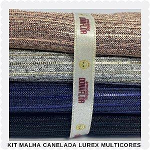 Kit Malha Canelada Lurex Multicores 30cmx70cm