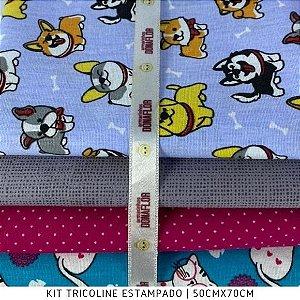 Kit Tricoline Dog e Cat 4tecidos 50cmx70cm