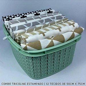 Combo Tricoline 100%Algodão Geométrica 12tecidos 50x75cm + Cestinha